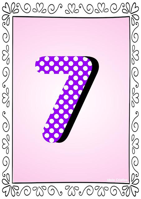 Numerais de Poá colorido com bordas 7