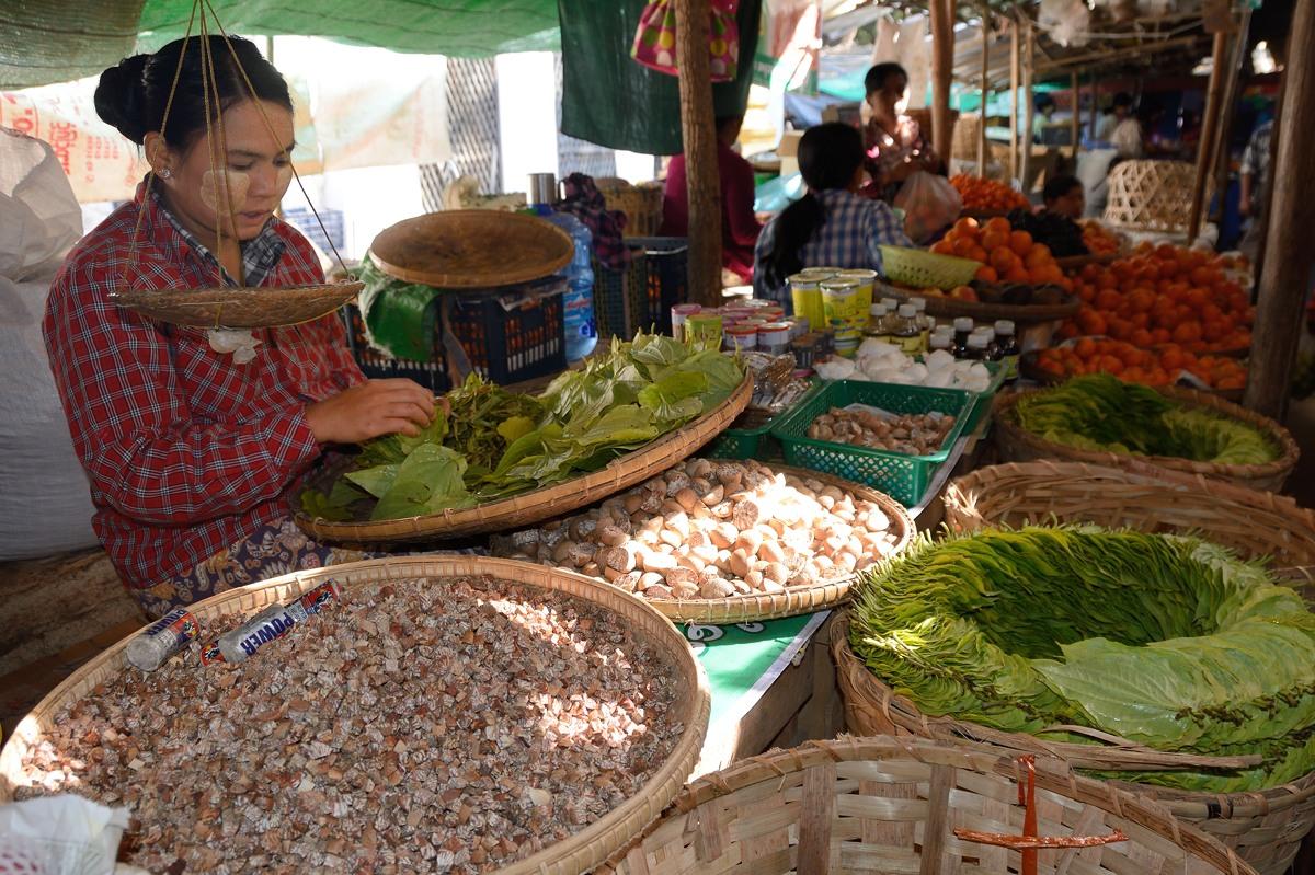 Betel paan in market in Nyaung U, Myanmar