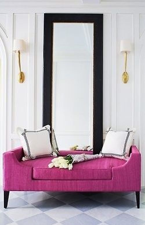 vibrant and bright Pantone Radiant Orchid sofa