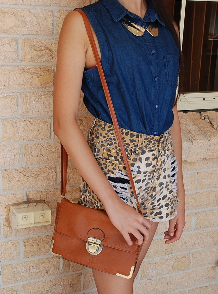 fashion, personal style, outfit, denim top, leopard print, shorts, tan, bag