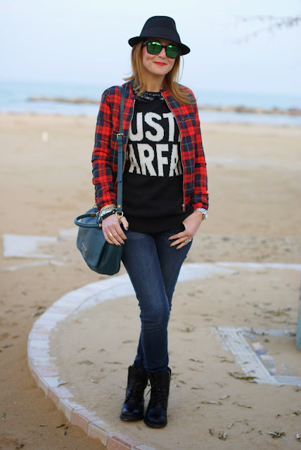 checked jacket, just parfait sweater, peter pan collar necklace, Fashion and Cookies, fashion blogger