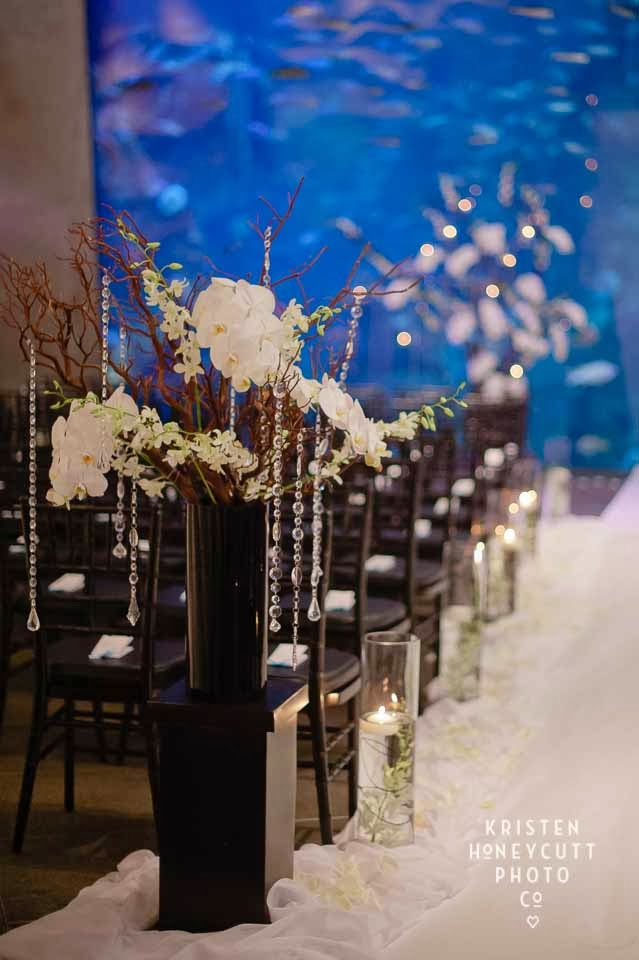 Seattle Aquarium Wedding, wedding ceremony decor, aisle entrance decor
