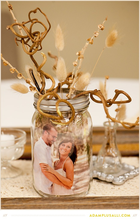 Wedding decor ideas photo centerpieces lots of love susan for Photo decoration