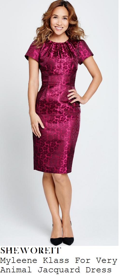 myleene-klass-berry-pink-leopard-print-jacquard-pencil-dress-cosmo-awards