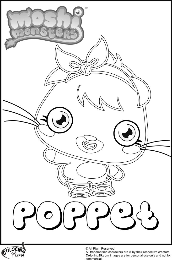 moshi monster poppet coloring pages