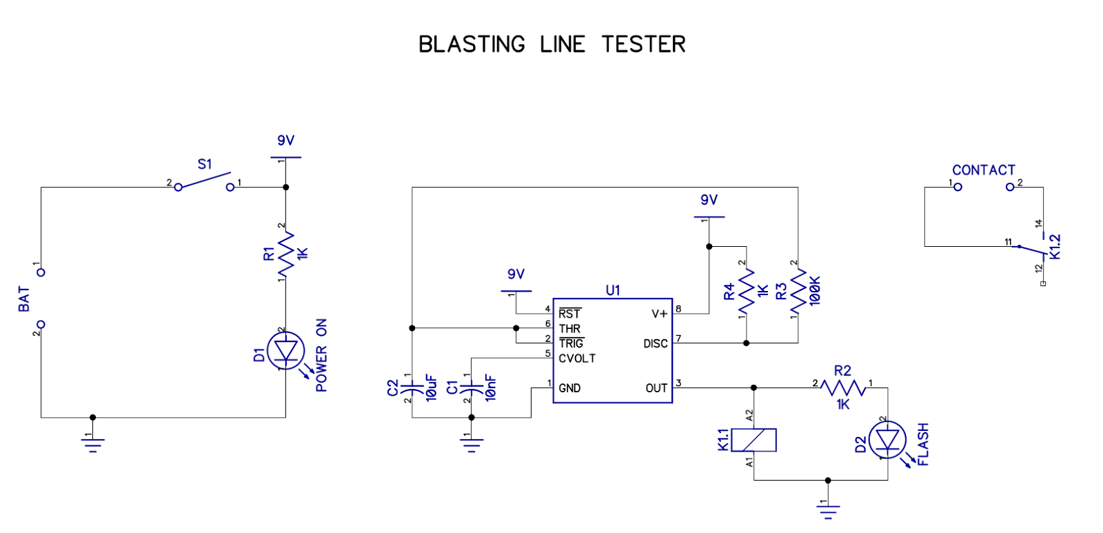 Electronics Projects And Tutorials Blasting Wire Tester Project Schematics The Circuit Is Pretty Straightforward I Have A Switch To Connect 9v Battery Use Green Power Good Led Red That