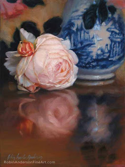 Soft Peach English Rose by Blue Vase