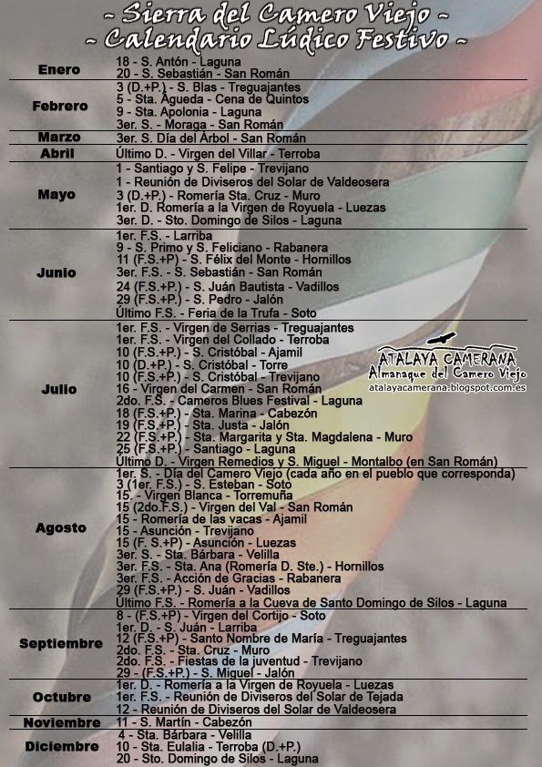 Sierra del Camero Viejo: Calendario Lúdico Festivo Anual