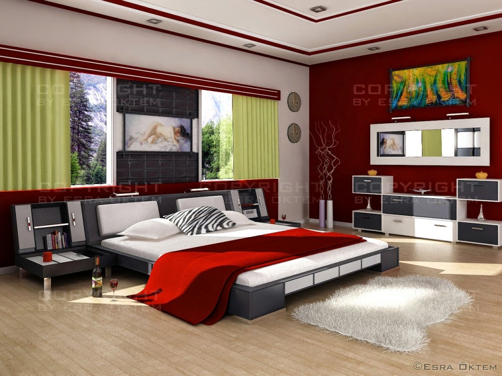 Black white red bedroom images
