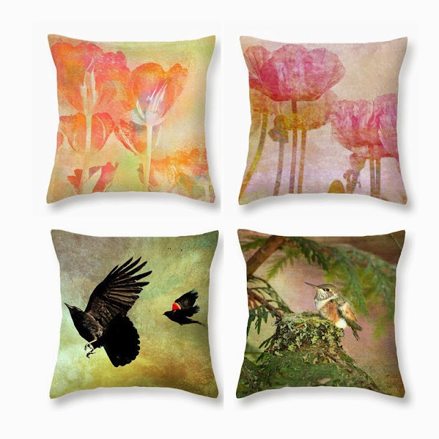 throw pillows, hummingbird, crow, blackbird, tulips, poppies