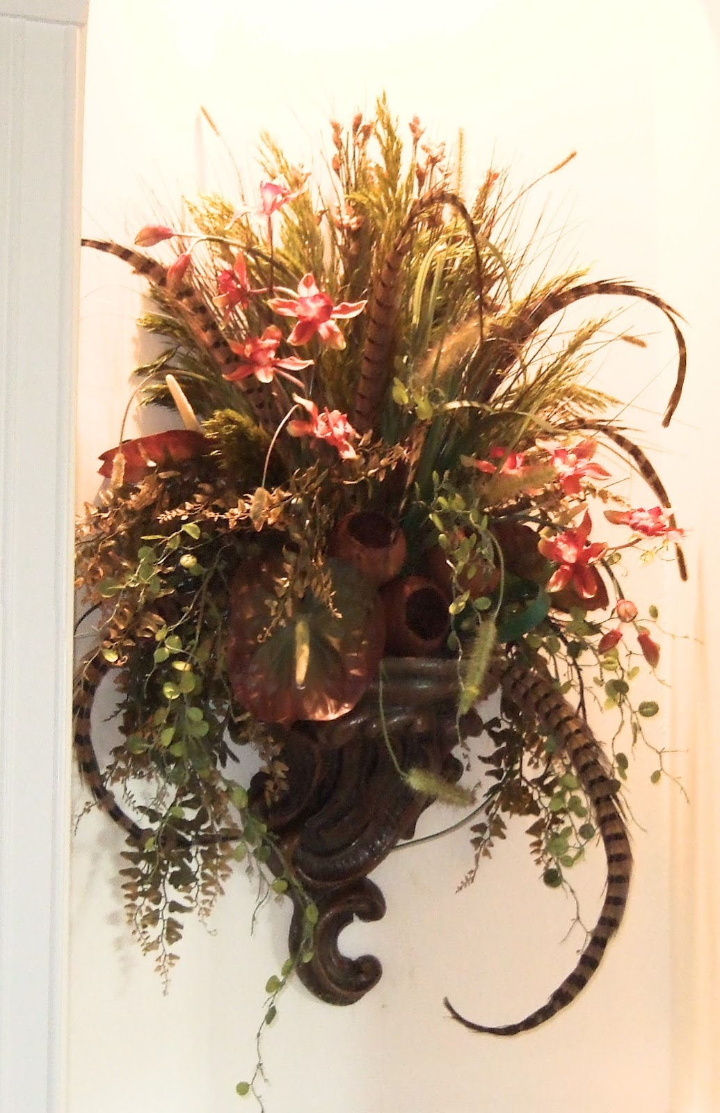 Wall Sconce For Dried Flowers : Ana Silk Flowers: Images!!!...Wall Sconces Silk Flowers Arrangements!!!