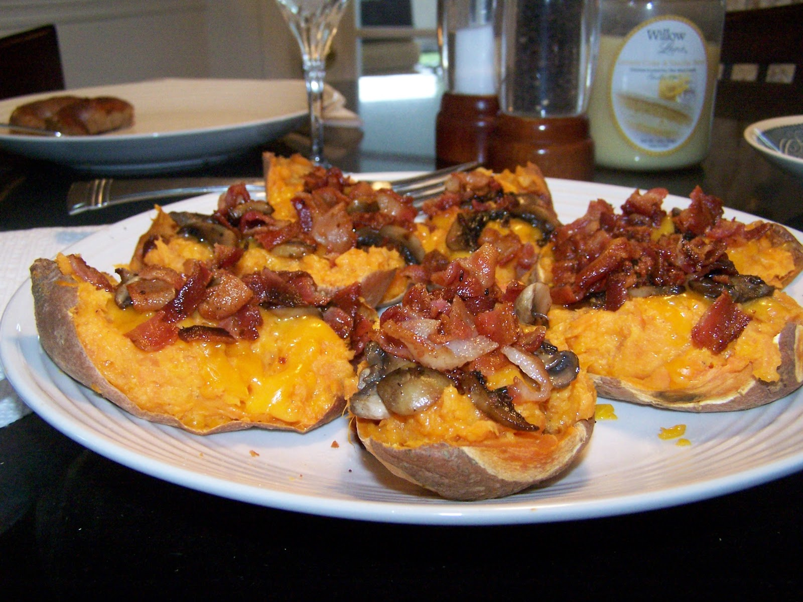 Sweet Potato Cheese & Bacon Stuffed Skins, gluten free - Skinny GF ...