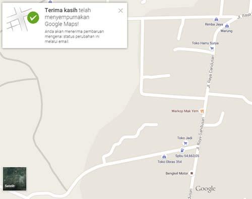 Menyempurnakan Google Maps Berhasil