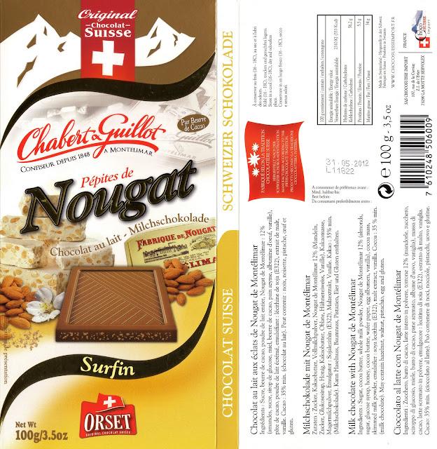 tablette de chocolat lait gourmand orset la route des alpes lait pépites de nougat