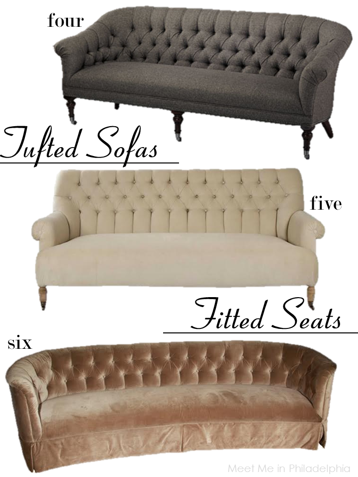 tufted sofas with fitted seats via Meet Me in Philadelphia