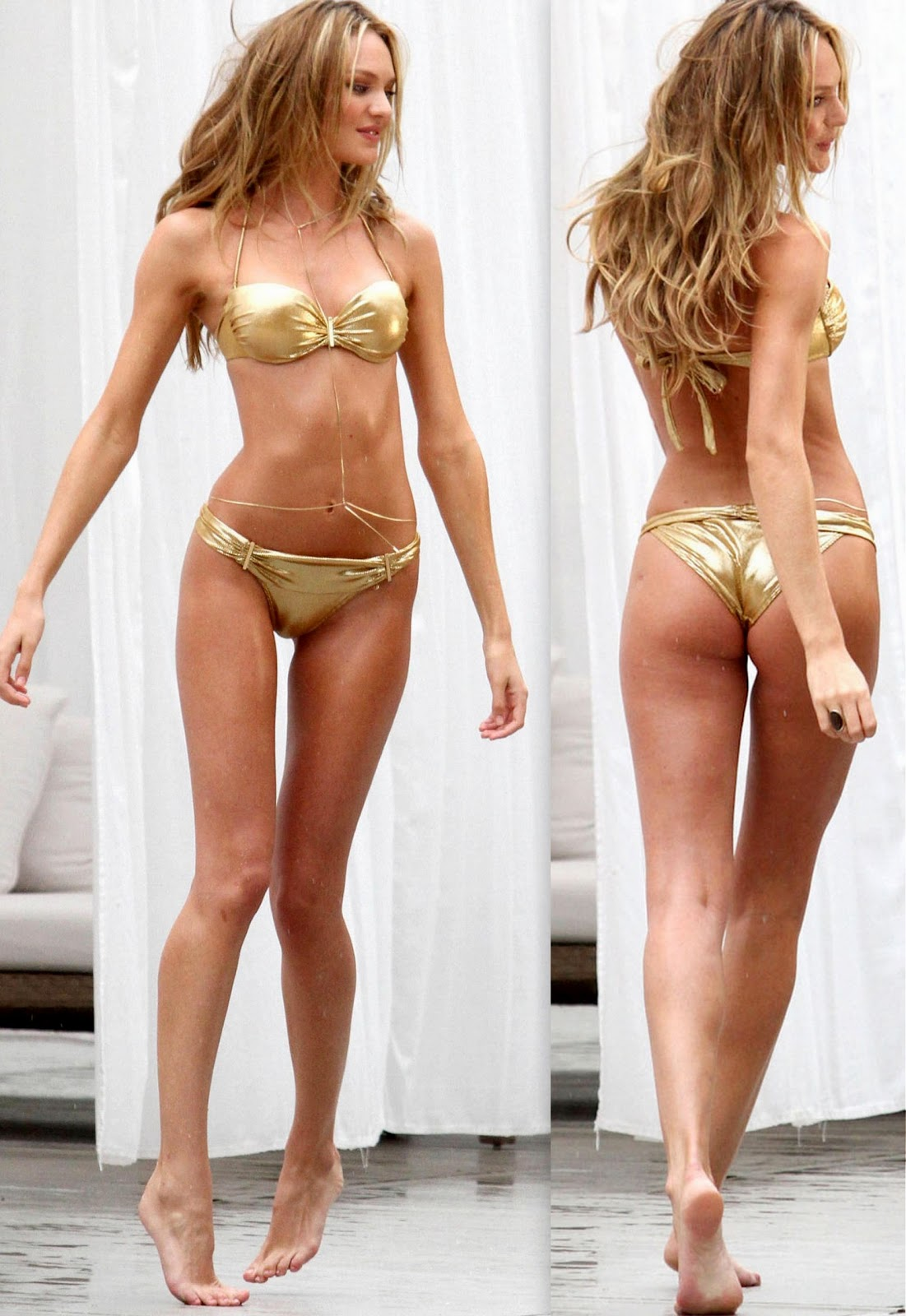 Models Inspiration Candice Swanepoel Gold Bikini Sep