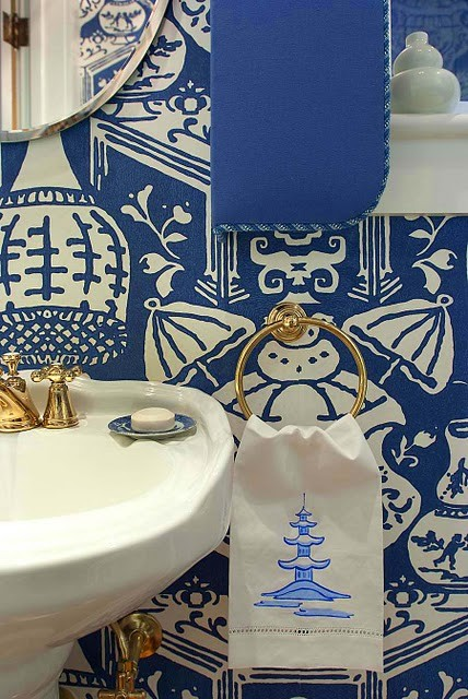 Chinoiserie Chic Navy The Powder Room,Rose Beautiful Flower Images Hd