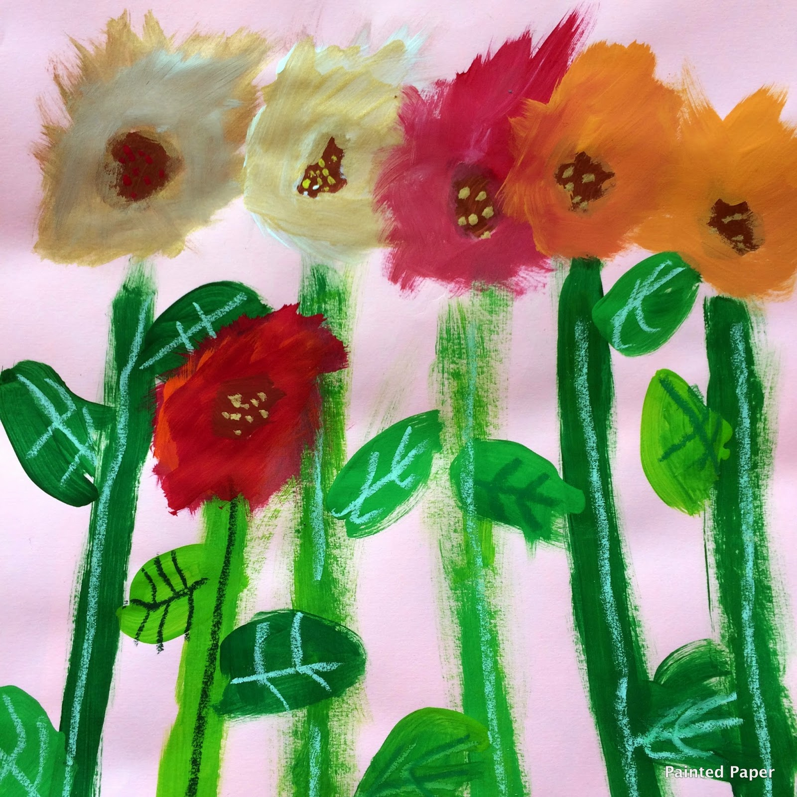 Painted paper monet 39 s garden flowers for Painted paper flowers