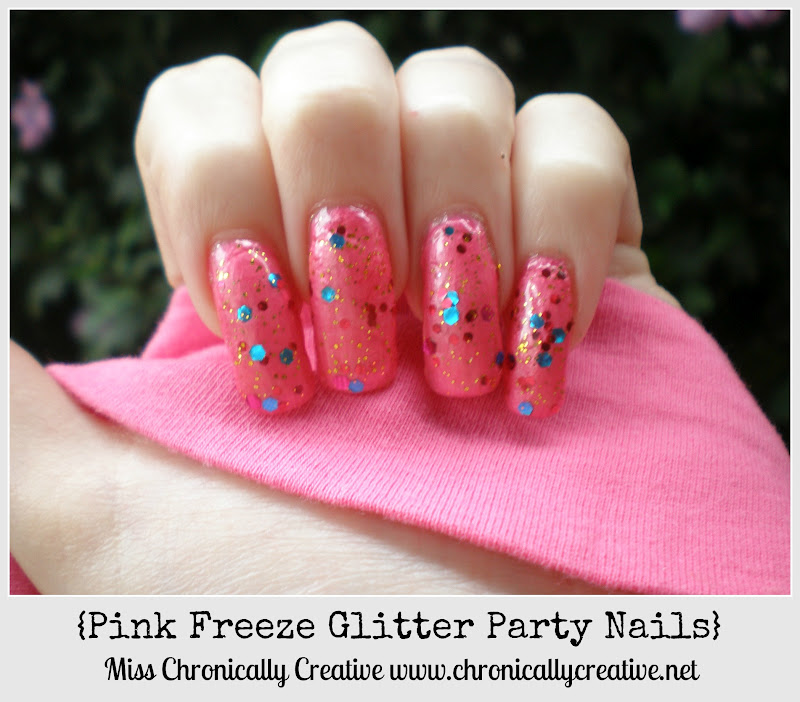 Chronically Creative: Pink Freeze Glitter Party Nails