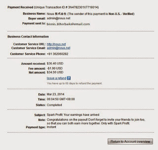 Bukti Pay Out dari SparkProfit
