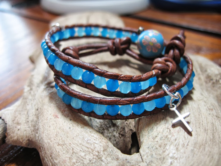 blue agate and jade wrap bracelet