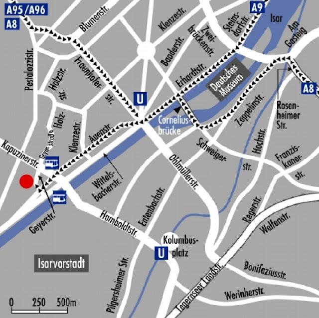 Mapa del hotel en Munich