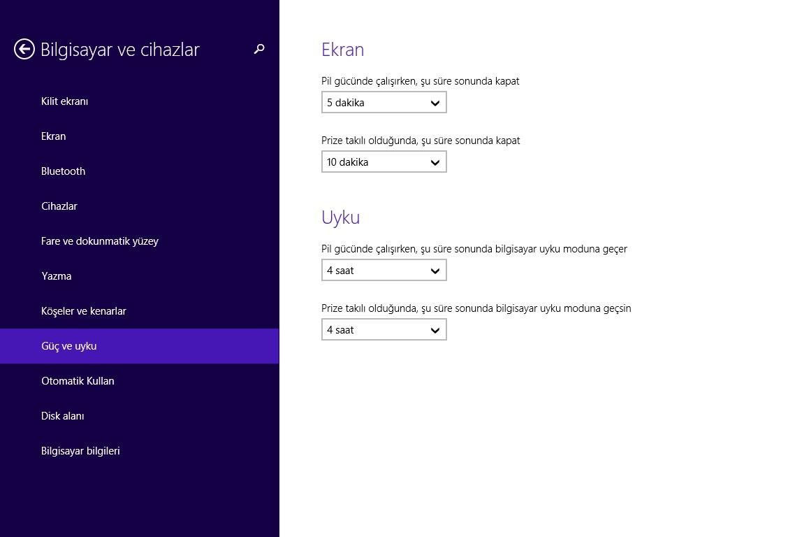 Windows 8.1 Güç ve Uyku Ayarları