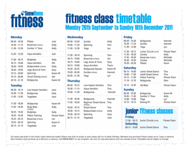 Fitness first timetable 1