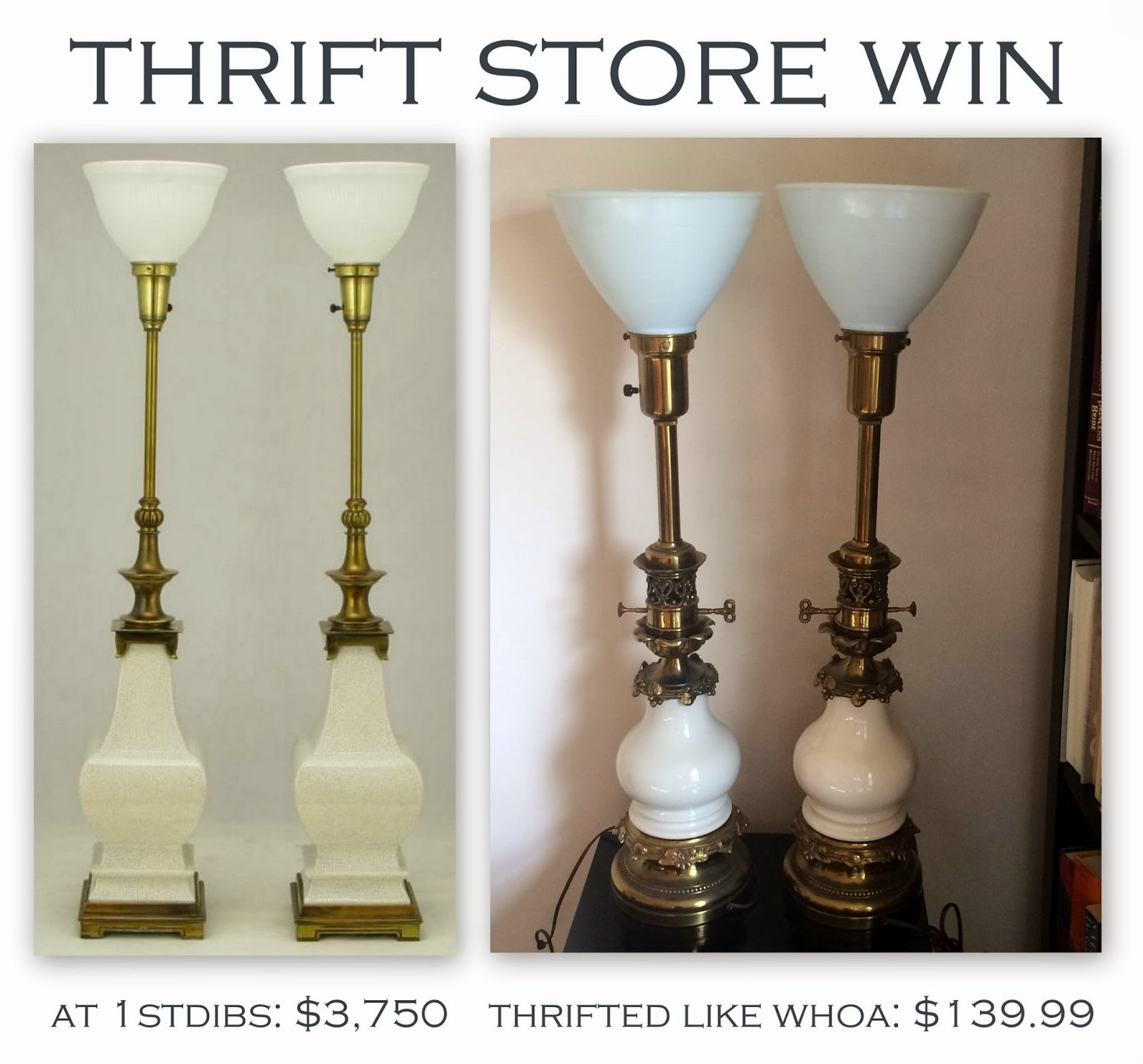 Librarian tells all thrift store win vintage stiffel lamps and a thrift store win vintage stiffel lamps and a word on diffuser bowl lamps versus torchieres aloadofball Choice Image