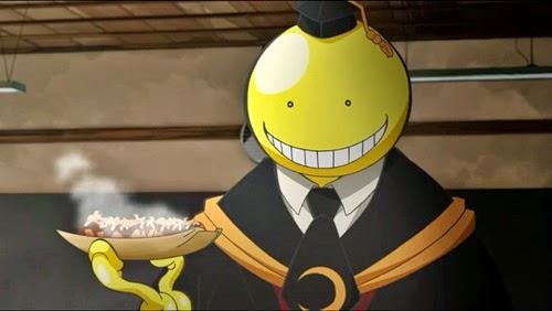"""""""cenas em que o """"Polvo"""" Koro-sensei faz a sobrancelha dos agentes do governo, ou faz comidas exóticas durante suas explicações"""""""