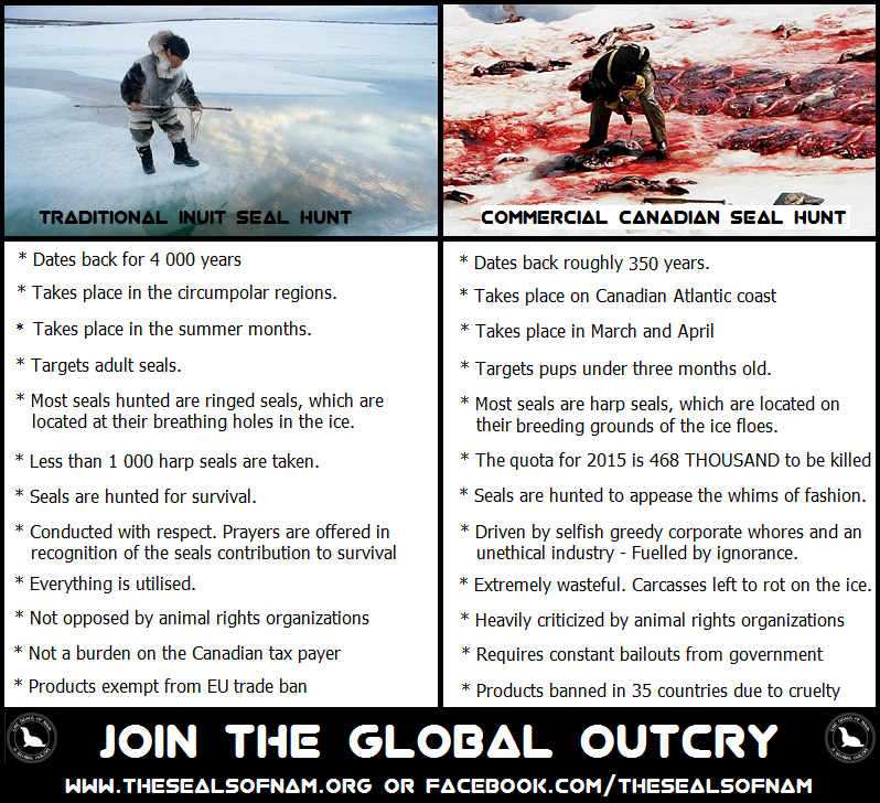 difference between commercial and traditional seal hunt