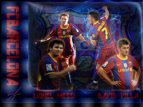 Download Wallpaper Barcelona Forward Lionel Messi And David Villa
