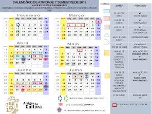 PRIMEIRO SEMESTRE DE 2019 -CALENDÁRIO ARQUITETUTRA E URBANISMO - AVALIAÇÕES E PROGRAMAÇÃO-2019/1