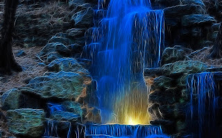 Fractal Blue Waterfall wallpaper