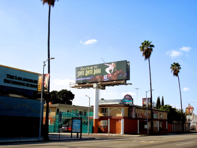 Follow Me Santa Anita Park billboard