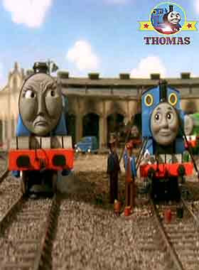 Thomas the tank engine and Gordon the train Tidmouth railway yard old wooden Sodor roundhouse sheds