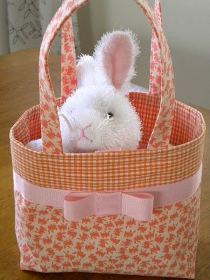 fabric Easter bag with bunny pattern