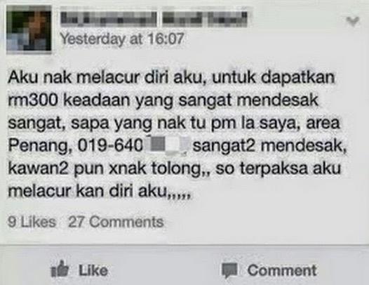 Gadis Melayu tawar diri untuk melacur di Facebook