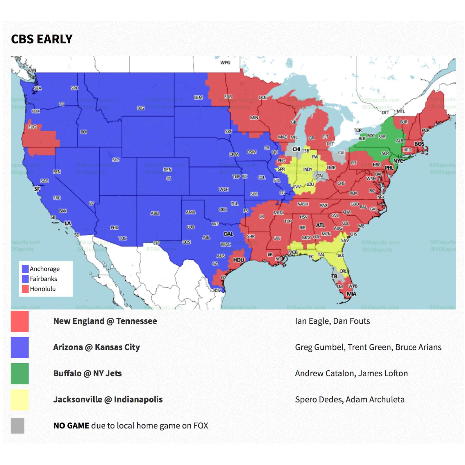 PACKERVILLE, U.S.A.: 2018 Week 10 NFL TV Maps