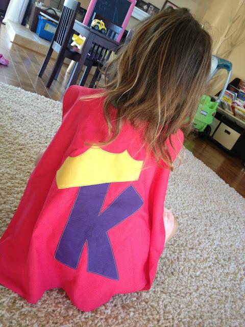 Kayla's homemade super hero cape for girls