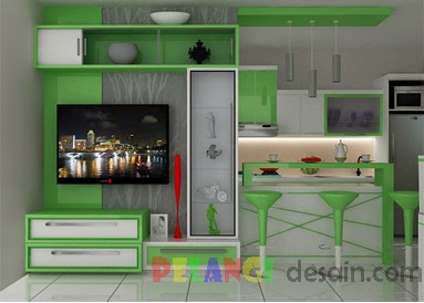 Kitchen Set Backdrop Tv Warna Hijau