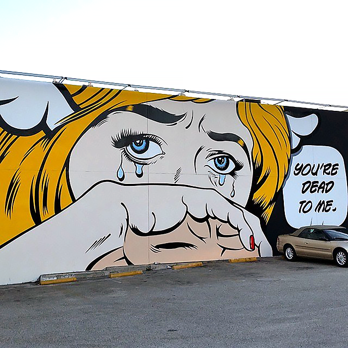 "D*Face is currently in Los Angeles where he just finished working on this brilliant new piece entitled ""You're Dead To Me""."