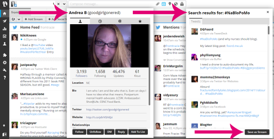 Twitter profile and search boxes in Hootsuite