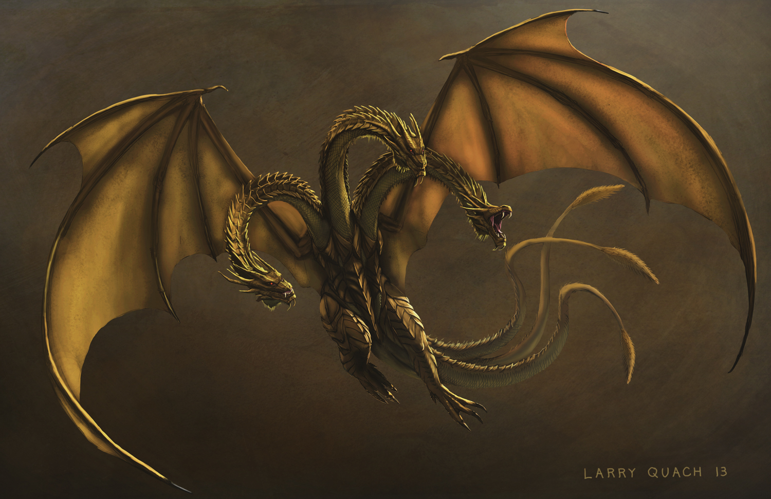 Larry T Quach's Art Blog: King Ghidorah