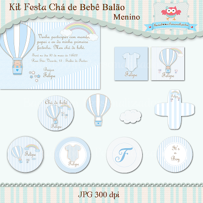 arte digital, kit digital, chá de bebê, balão, menino, azul, convite, topper, tag redonda, elementos, caixa acrilica, tubete, rótulos, rótulo