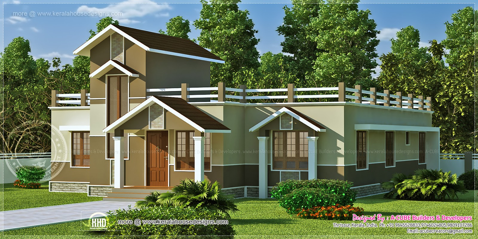 One Floor Building Elevation : Square feet one floor house elevation home kerala plans