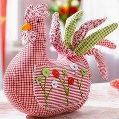 galinhas decorativas feitas de tecido
