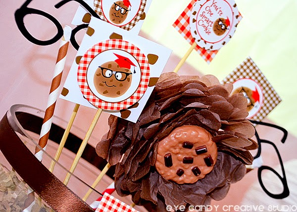 cookies & milk party, red gingham, cookie flower, nerd glasses, grad cap