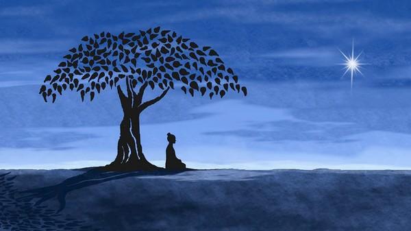 Credit buddha sitting under the bodhi tree gazing upon the morning