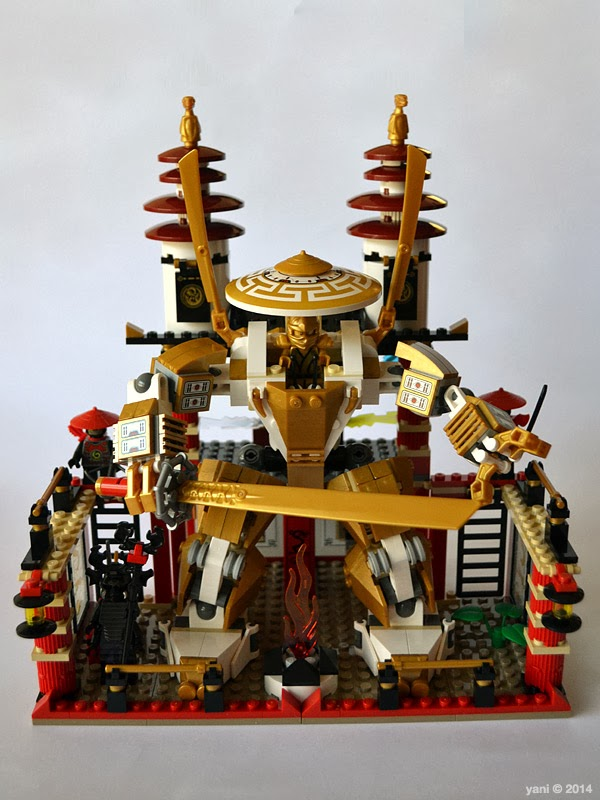 lego ninjago temple of light - the golden samurai mecha parked in the temple